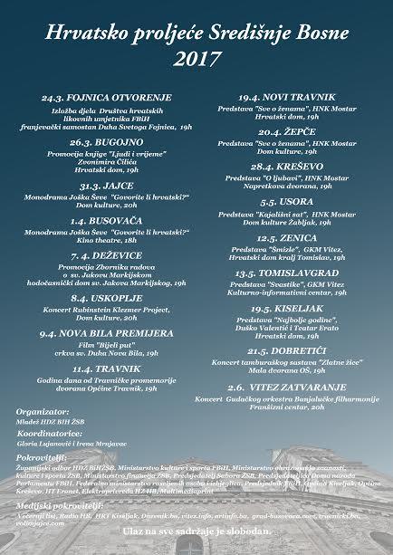 Brojni sadržaji u okviru kulturne manifestacije  Hrvatsko proljeće Središnje Bosne