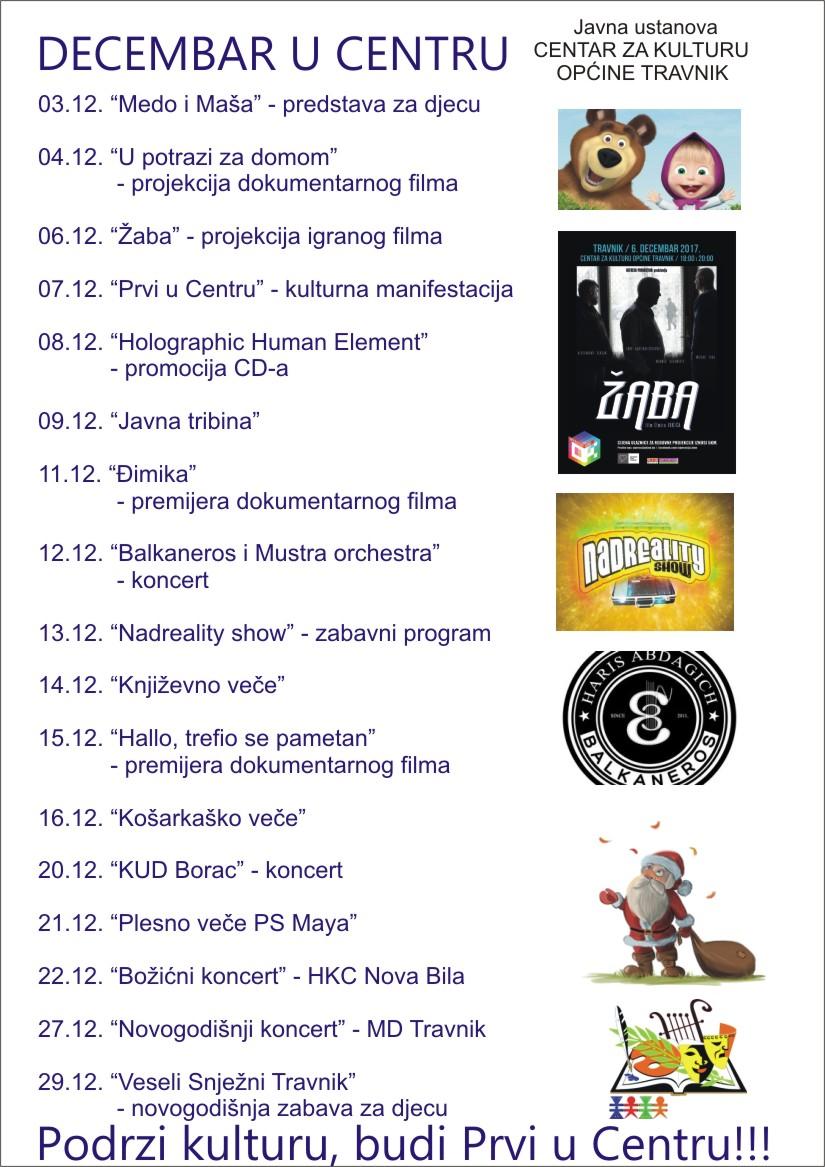 Brojni sadržaji tokom decembra u Centru za kulturu