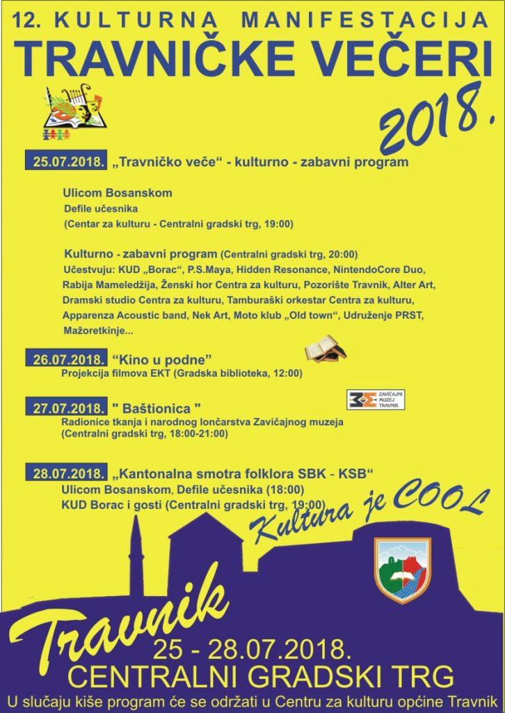 """Kulturna manifestacija """"12. TRAVNIČKE VEČERI"""", 25.-28. 07.2018."""