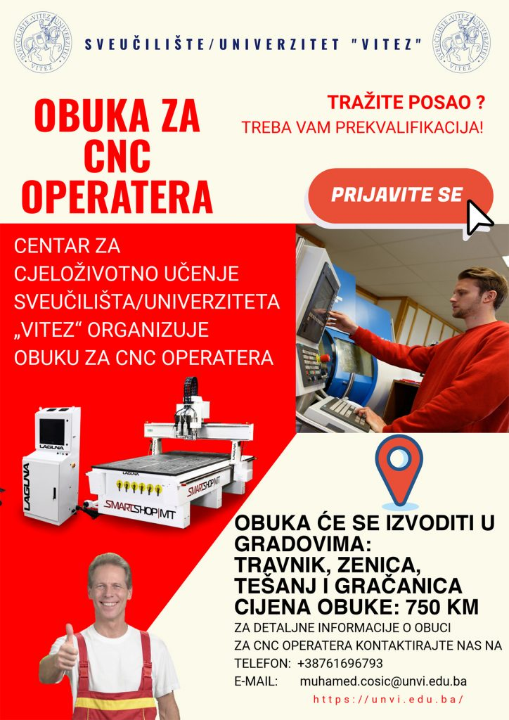 Obuka za CNC operatere u Travniku, Zenici, Tešnju i Gračanici