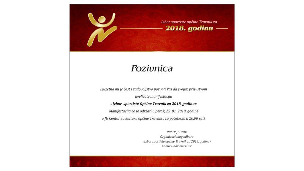 U petak 25. januara Izbor najboljih sportista Općine Travnik