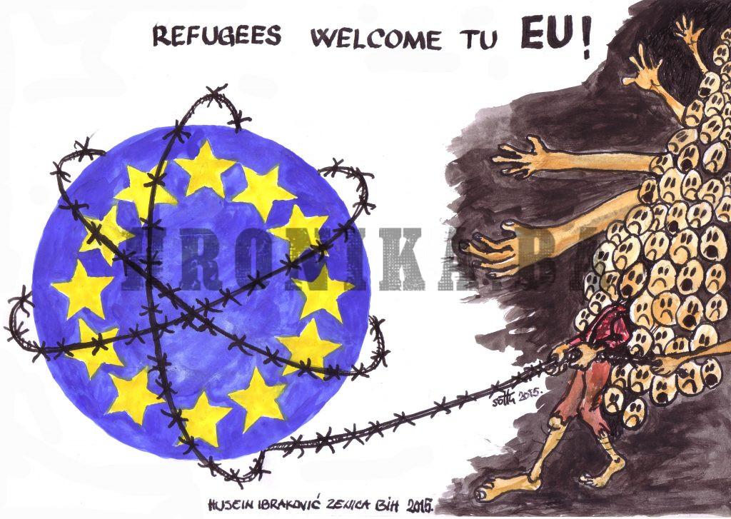Karikatura: Migranti na putu u EU