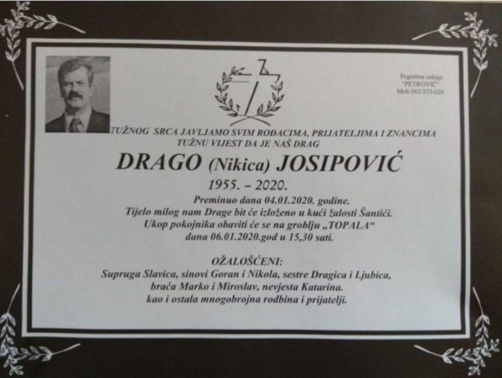Umro Drago Josipović haški osuđenik za masakr u Ahmićima