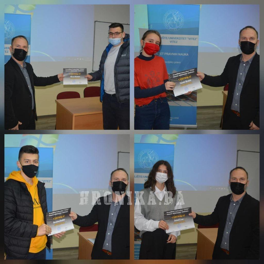 """Uručeni certifikati polaznicima kursa """"CODE WEEK"""" na Sveučilištu / Univerzitetu """"VITEZ"""""""