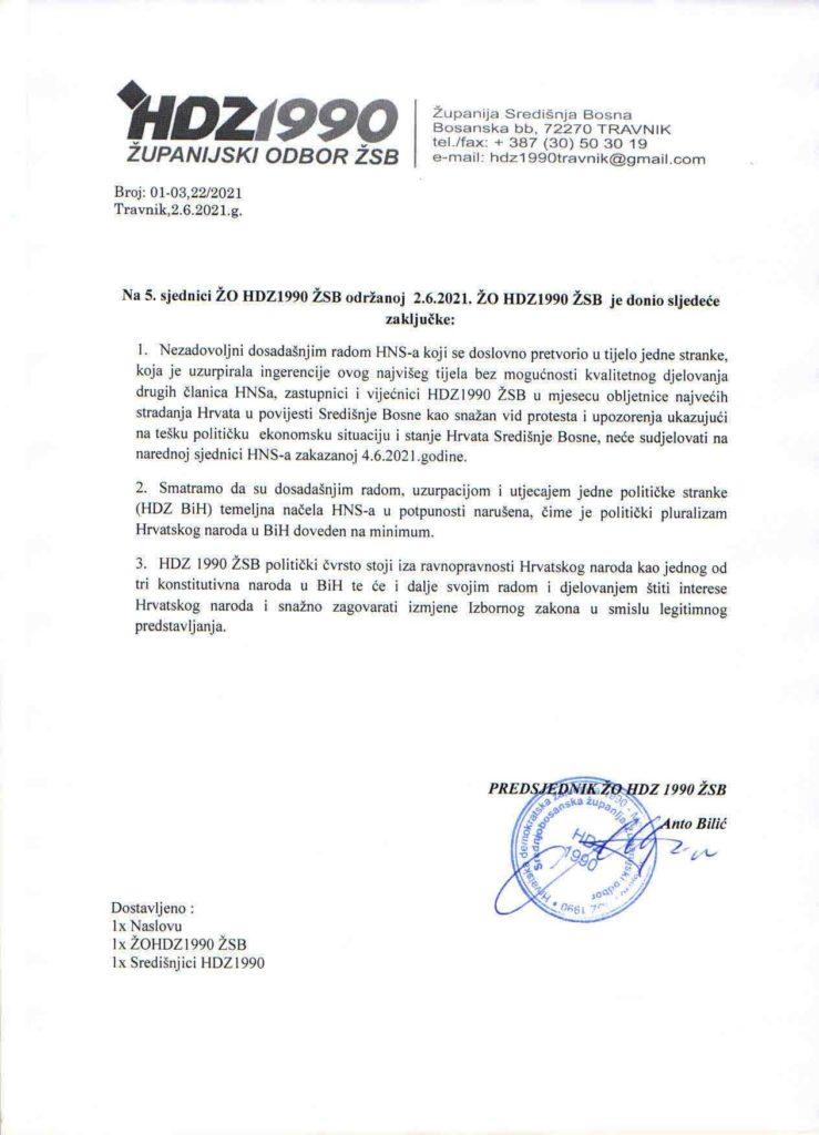 Zastupnici i vijećnici HDZ1990 ŽSB neće učestvovati na sjednici HNS-a