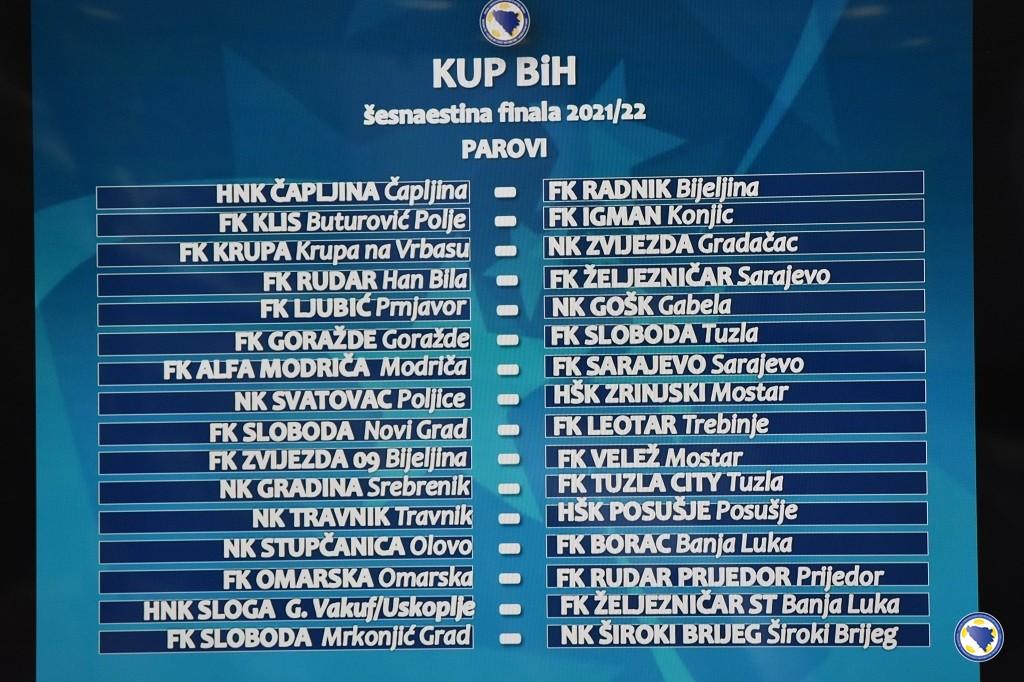Obavljen žrijeb 1/16 finala Kupa BiH: Rudar iz Han Bile dočekuje Želju, Travnik domaćin Posušju